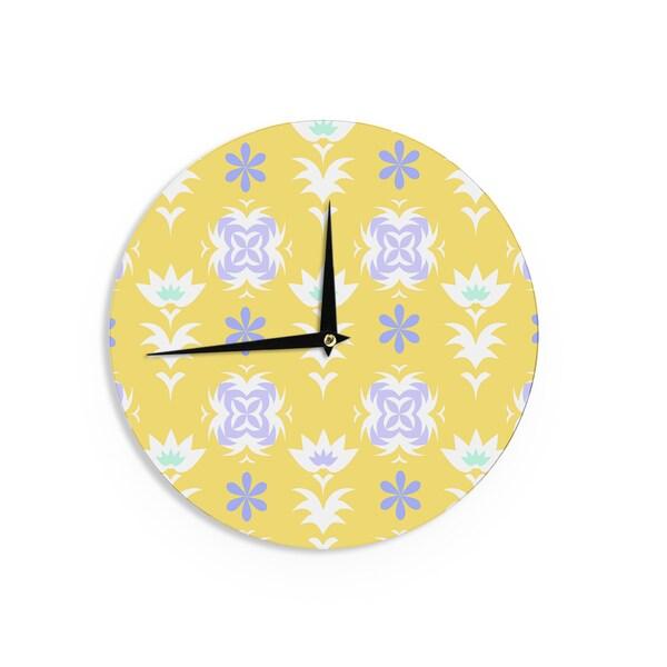 KESS InHouse Alison Coxon 'Edwardian Tile Yellow' Yellow White Wall Clock