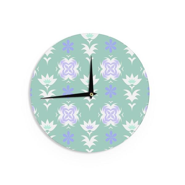 KESS InHouse Alison Coxon 'Edwardian Tile Blue' Blue White Wall Clock