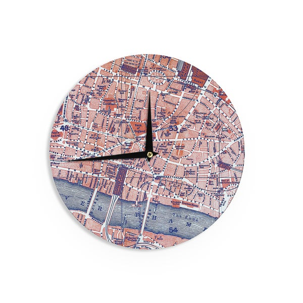 KESS InHouse Alison Coxon 'City Of London' Map Wall Clock