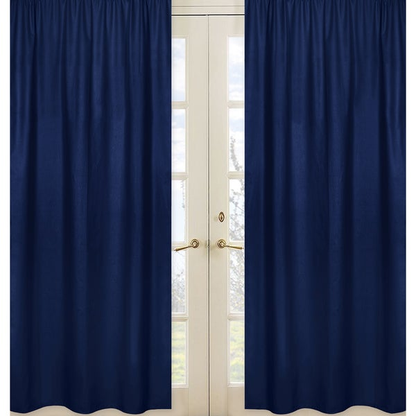 Sweet Jojo Designs Navy Blue Fabric Window Panels