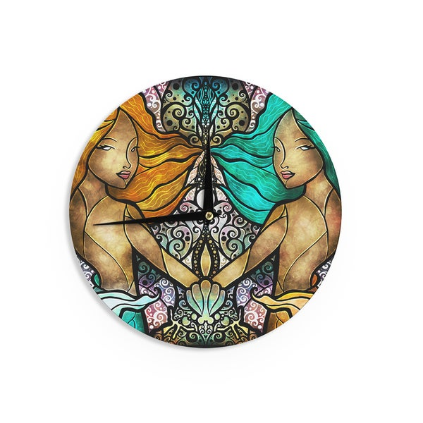 KESS InHouse Mandie Manzano 'Mermaid Twins' Wall Clock