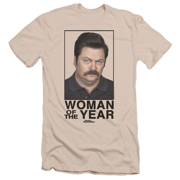 Parks&Rec/Woman Of The Year Short Sleeve Adult T-Shirt 30/1 in Cream