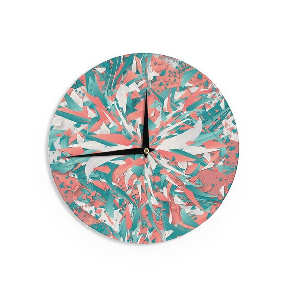 KESS InHouse Danny Ivan 'Like Explosion' Pink Teal Wall Clock