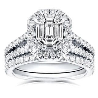 Annello 14k White Gold 1 1/2ct Emerald and Round Diamond Art Deco Halo Bridal Set (H-I, I1-I2)