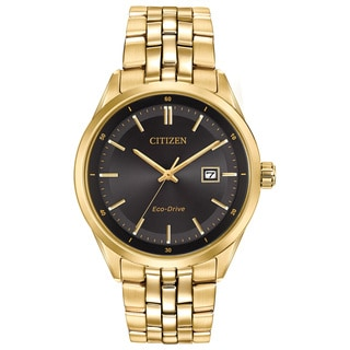 Citizen Eco-Drive Men's Pairs Black/Goldtone Stainless Steel Watch