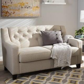 Baxton Studio Euthalia Modern and Contemporary Fabric Upholstered Button-Tufted Living Room 2-Seater Loveseat
