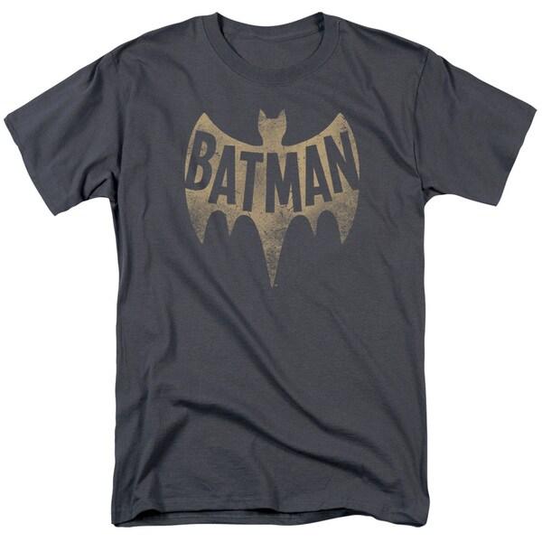 Batman Classic Tv/Vintage Logo Short Sleeve Adult T-Shirt 18/1 in Charcoal