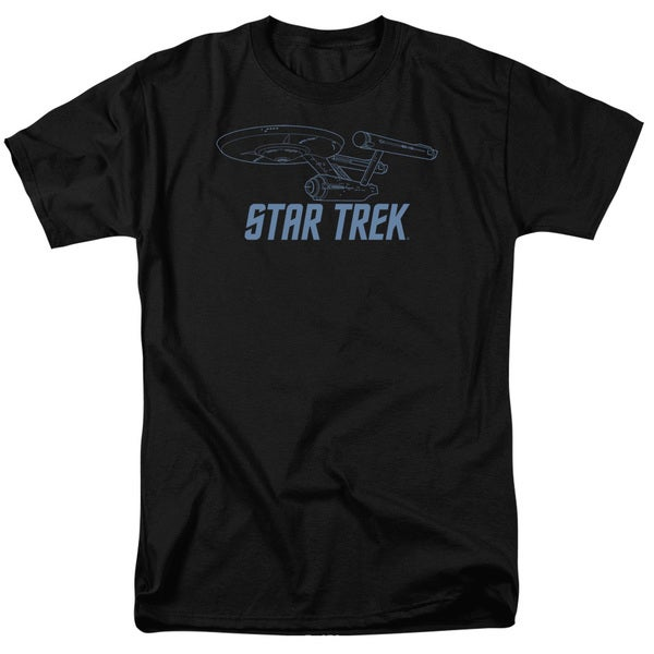 Star Trek/Enterprise Outline Short Sleeve Adult T-Shirt 18/1 in Black