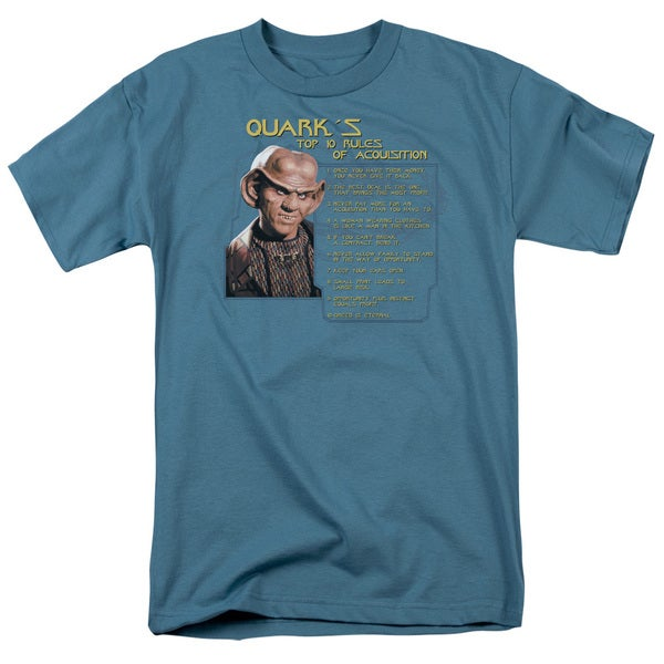 Star Trek/Quark's Rules Short Sleeve Adult T-Shirt 18/1 in Slate