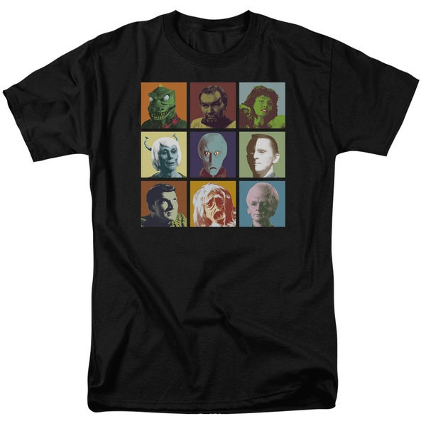 Star Trek/Alien Squares Short Sleeve Adult T-Shirt 18/1 in Black
