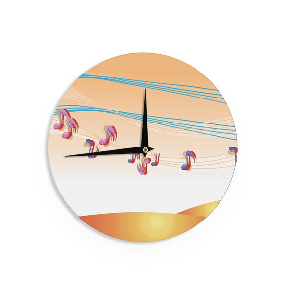 KESS InHouseFotios Pavlopoulos 'Nature Music' Orange White Wall Clock