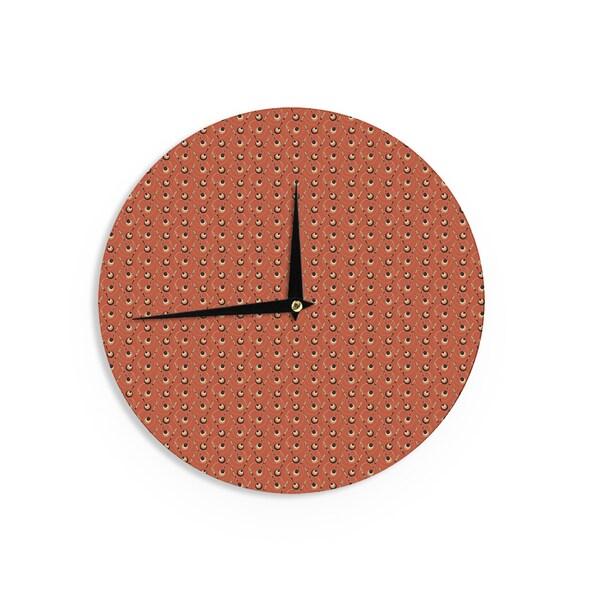 KESS InHouseHolly Helgeson 'Deco Arrows' Red Pattern Wall Clock