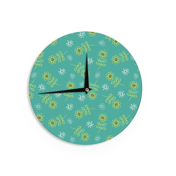 KESS InHouseHolly Helgeson 'Ditsy Daisy' Teal Wall Clock