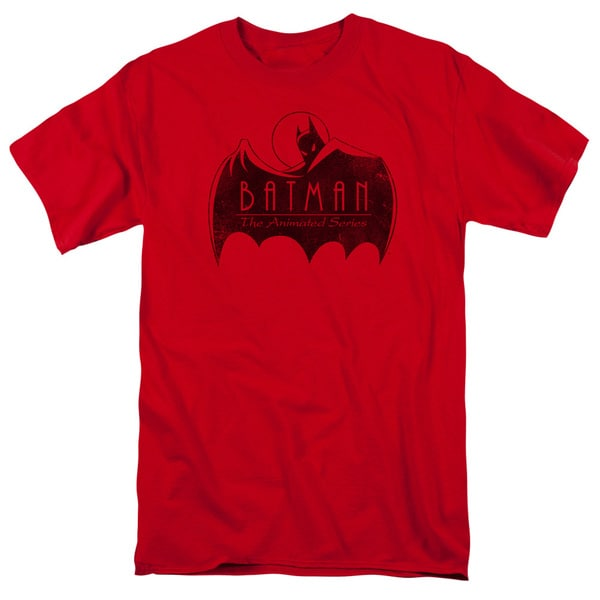 Batman The Animated Series/One Color Logo Short Sleeve Adult T-Shirt 18/1 in Red