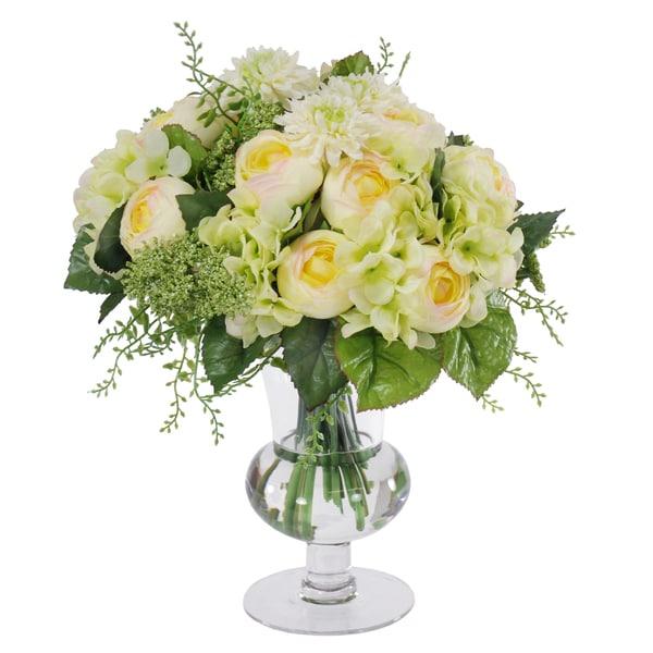 Jane Seymour Botanicals Mixed Ranunculus Silk Flower Bouquet In Footed Glass Vase