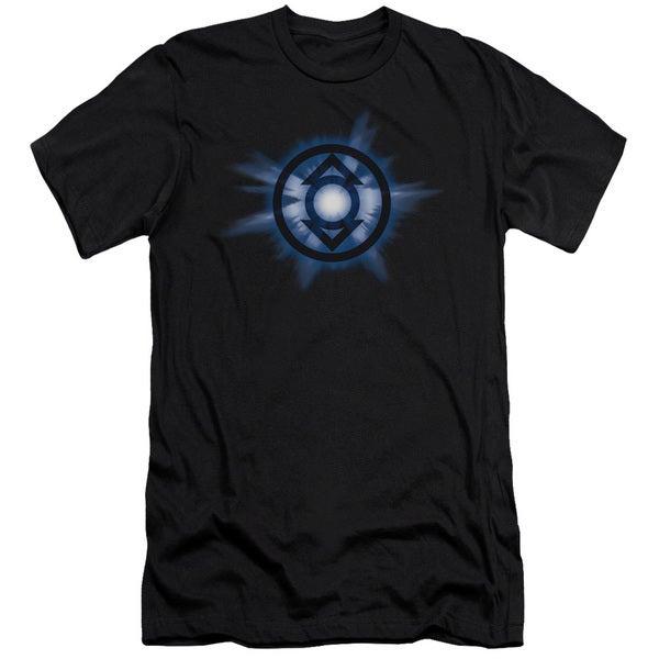 Green Lantern/Indigo Glow Short Sleeve Adult T-Shirt 30/1 in Black