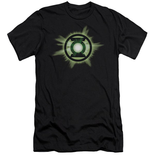 Green Lantern/Green Glow Short Sleeve Adult T-Shirt 30/1 in Black