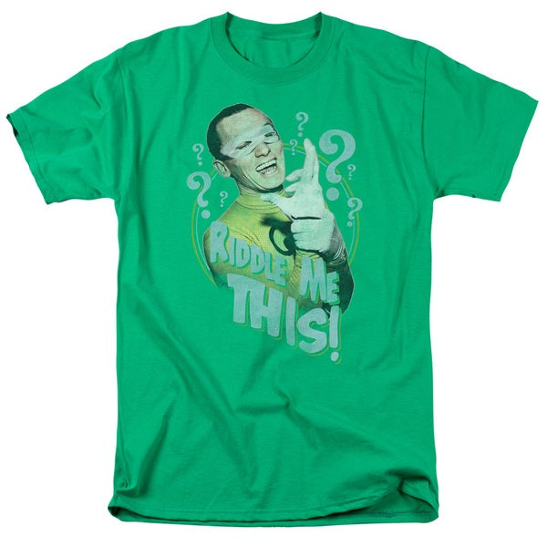 Batman Classic Tv/Riddle Me This Short Sleeve Adult T-Shirt 18/1 in Kelly Green
