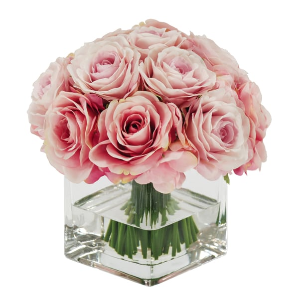 Jane Seymour Botanicals Pink Rose Bouquet in 8-inch Clear Glass Square Vase