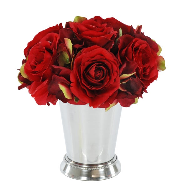 Jane Seymour Botanicals Red Rose Bouquet in 8-inch Metal Julep Cup 20142812
