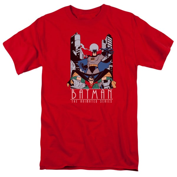 Batman The Animated Series/Batman and Robin Short Sleeve Adult T-Shirt 18/1 in Red