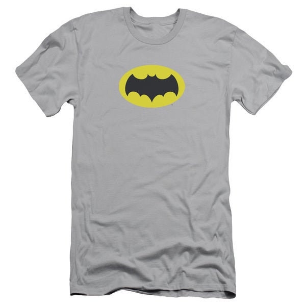 Batman Classic Tv/Chest Logo Short Sleeve Adult T-Shirt 30/1 in Silver