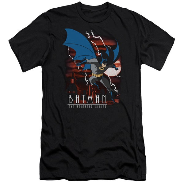 Batman The Animated Series/Lightning Strikes Short Sleeve Adult T-Shirt 30/1 in Black