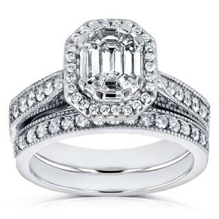 Annello 14k White Gold 4/5ct Emerald and Round Diamond Art Deco Cathedral Bridal Set (H-I, I1-I2)