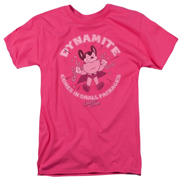 Mighty Mouse/Dynamite Short Sleeve Adult T-Shirt 18/1 in Hot Pink