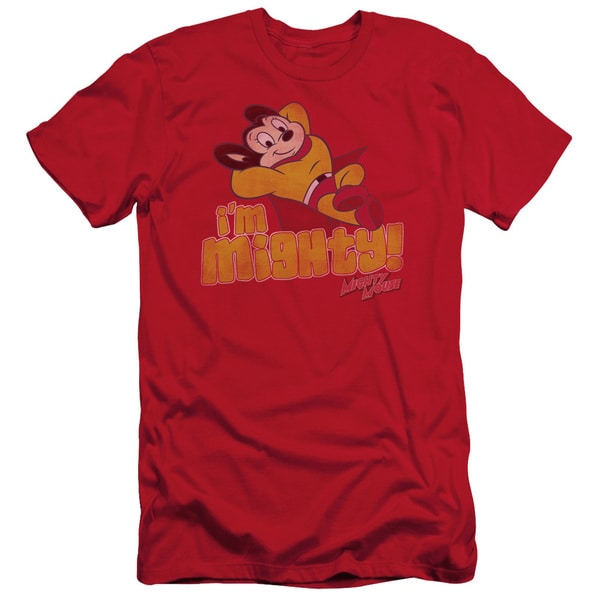 Mighty Mouse/I'M Mighty Short Sleeve Adult T-Shirt 30/1 in Red