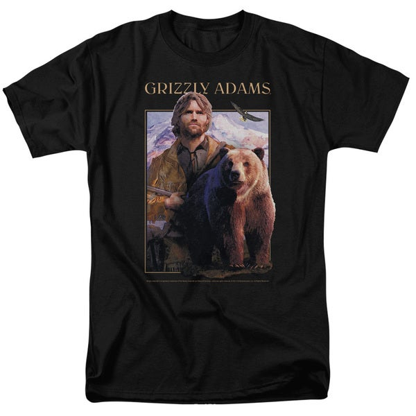 Grizzly Adams/Collage Short Sleeve Adult T-Shirt 18/1 in Black