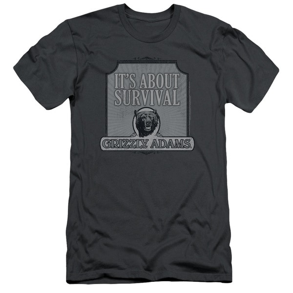Grizzly Adamshort Sleeveurvival Short Sleeve Adult T-Shirt 30/1 in Charcoal