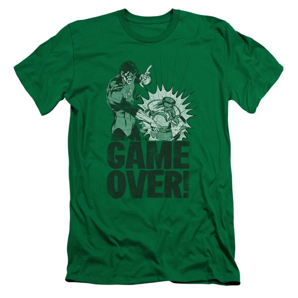 Green Lantern/Game Over Short Sleeve Adult T-Shirt 30/1 in Kelly Green
