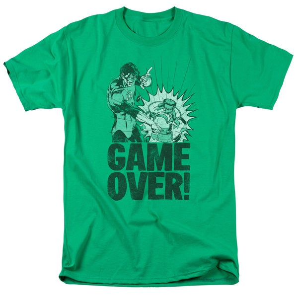 Green Lantern/Game Over Short Sleeve Adult T-Shirt 18/1 in Kelly Green