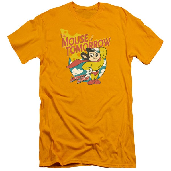 Mighty Mouse/Mouse Of Tomorrow Short Sleeve Adult T-Shirt 30/1 in Gold