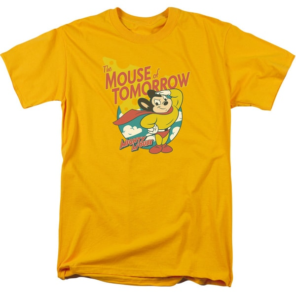 Mighty Mouse/Mouse Of Tomorrow Short Sleeve Adult T-Shirt 18/1 in Gold