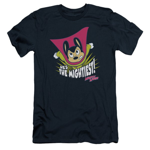 Mighty Mouse/The Mightiest Short Sleeve Adult T-Shirt 30/1 in Navy