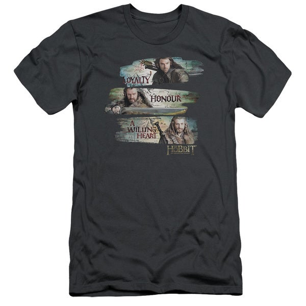 The Hobbit/Loyalty and Honour Short Sleeve Adult T-Shirt 30/1 in Charcoal