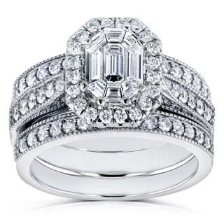 Annello 14k White Gold 1 1/5ct Emerald and Round Diamond Art Deco Cathedral 3 Piece Bridal Set (H-I, I1-I2)