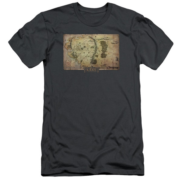 The Hobbit/Middle Earth Map Short Sleeve Adult T-Shirt 30/1 in Charcoal