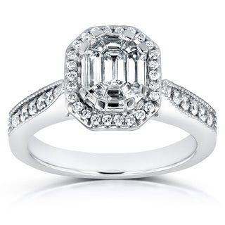 Annello 14k White Gold 5/8ct Emerald and Round Diamond Art Deco Cathedral Engagement Ring (H-I, I1-I2)