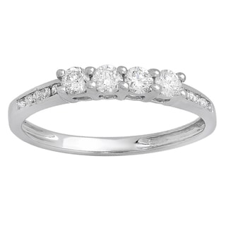 14K White Gold 1/2 ct. TDW Round Diamond Ladies Bridal Anniversary Wedding Band Stackable Ring (H-I,I1-I2)