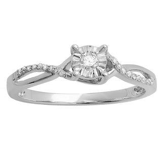 10K White Gold 1/6 ct. TDW Round Diamond Ladies Split Shank Bridal Engagement Promise Ring (I-J,I2-I3)