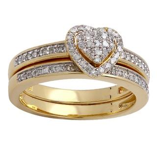 14K Yellow Gold 1/4 ct. TDW Round White Diamond Ladies Heart Shaped Bridal Engagement Ring With Matching Band Set (I-J,I2-I3)
