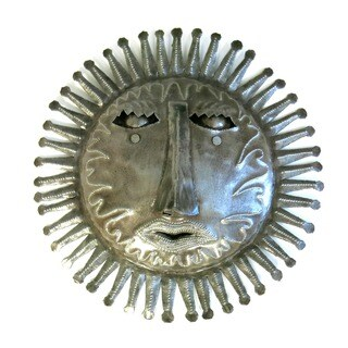 Handcrafted Recycled Steel Drum Small 3D Sun Face Wall Art (Haiti)
