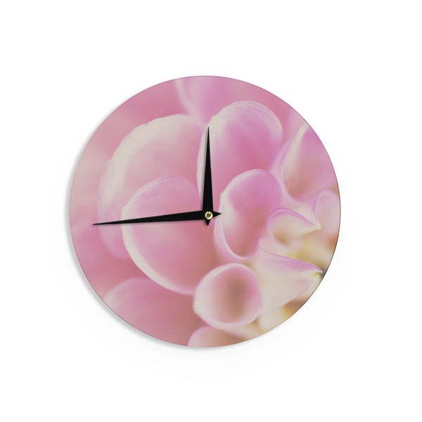 KESS InHouse Laura Evans 'Up Close & Personal' Pink Floral Wall Clock