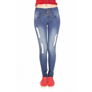 Juniors' Buttlifter Back Pocket and Rips Design Stretch Skinny Jeans