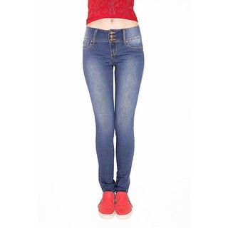 Juniors' Blue Cotton/Spandex Buttlifter Skinny Jeans