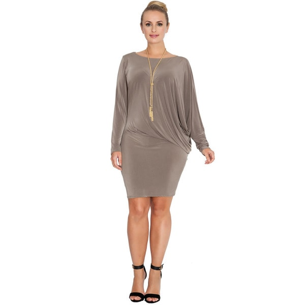 Women's Beige Polyester Long-sleeved Batwing Dress