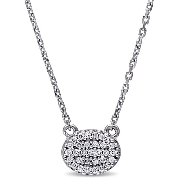 Miadora 14k White Gold 1/10ct TDW Diamond Oval Cluster Necklace (G-H, SI1-SI2)